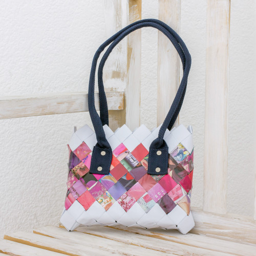 Handcrafted Pink Recycled Magazine Paper Shoulder Bag 'Modern Bouquet'