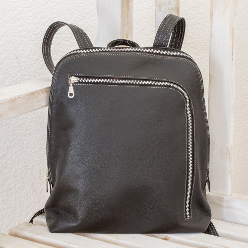 Handcrafted Leather Backpack in Black from Costa Rica 'Stylish Voyager in Black'