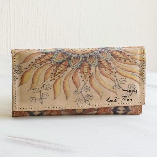 Floral Printed Leather Wallet 'Sunflower Rising'