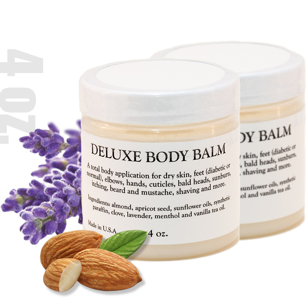DELUXE BODY BALM 4 0z. - 2 PACK A multi-use solution of base and essential oils designed to condition and moisturize dry skin, feet (diabetic or normal) elbows, hands, cuticles, bald head, sunburn, itching, beard and mustache, shaving and more.