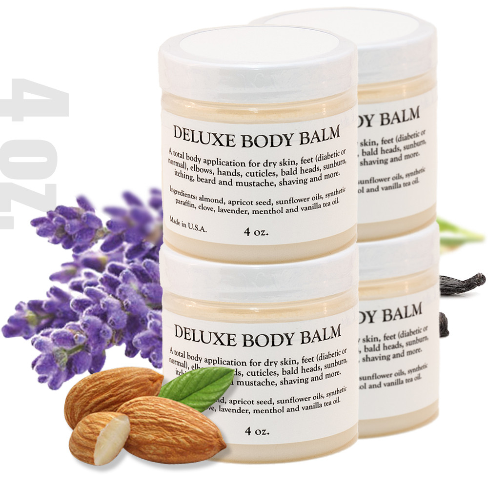 DELUXE BODY BALM - 4 0z. - 4 PACK A multi-use solution of base and essential oils designed to condition and moisturize dry skin, feet (diabetic or normal) elbows, hands, cuticles, bald head, sunburn, itching, beard and mustache, shaving and more.