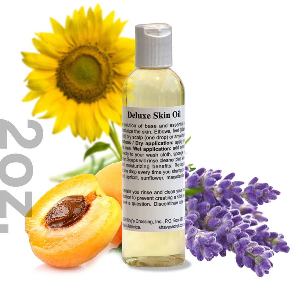 2 oz. Deluxe Skin Oil  Deluxe Skin Oil is a multi-purpose solution of base and essential oils designed to condition and moisturize the skin. Elbows, feet (diabetic or normal), hands (cuticles too) dry scalp (one drop) or anywhere else dry skin is a problem.