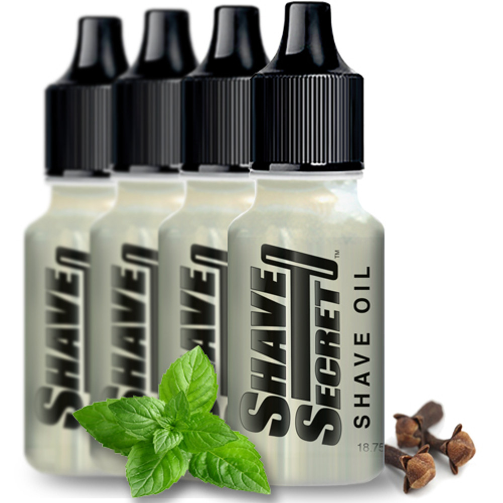 Shave Secret Shaving Oil (4 - 18.75 ml bottles) - Shave Secret Shaving Oil provides the most comfortable, smooth shave ever! Shave Secret takes the place of all shaving creams, soaps, gels, powders, after shave and moisturizing lotions.