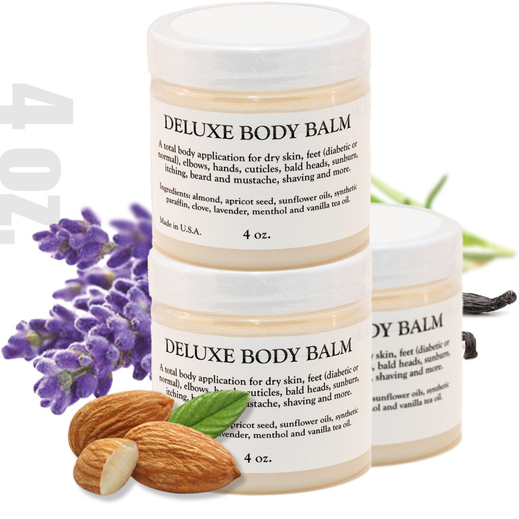 DELUXE BODY BALM - 4 0z. - 3 PACK A multi-use solution of base and essential oils designed to condition and moisturize dry skin, feet (diabetic or normal) elbows, hands, cuticles, bald head, sunburn, itching, beard and mustache, shaving and more.