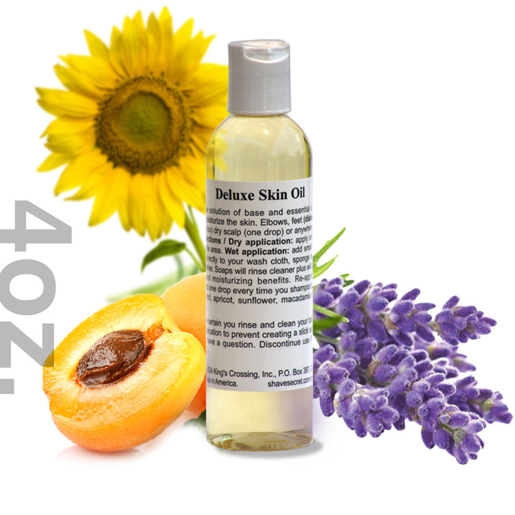 4 oz. Deluxe Skin Oil Deluxe Skin Oil is a multi-purpose solution of base and essential oils designed to condition and moisturize the skin. Elbows, feet (diabetic or normal), hands (cuticles too) dry scalp (one drop) or anywhere else dry skin is a problem.