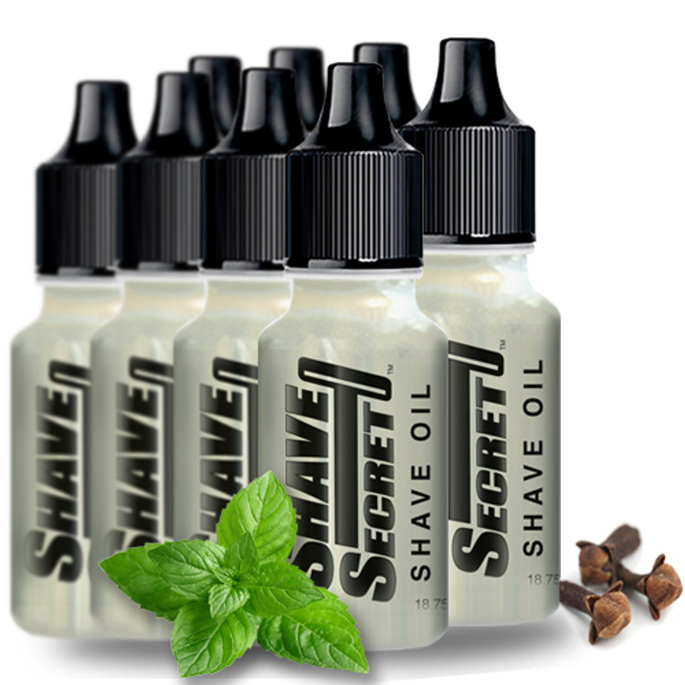 Shave Secret Shaving Oil (8 - 18.75 ml bottles) - Shave Secret Shaving Oil provides the most comfortable, smooth shave ever! Shave Secret takes the place of all shaving creams, soaps, gels, powders, after shave and moisturizing lotions.