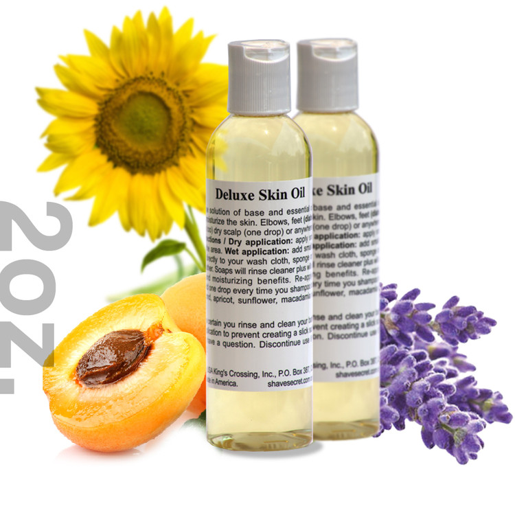 2 oz. Deluxe Skin Oil - 2PACK Deluxe Skin Oil is a multi-purpose solution of base and essential oils designed to condition and moisturize the skin. Elbows, feet (diabetic or normal), hands (cuticles too) dry scalp (one drop) or anywhere else dry skin is a problem.