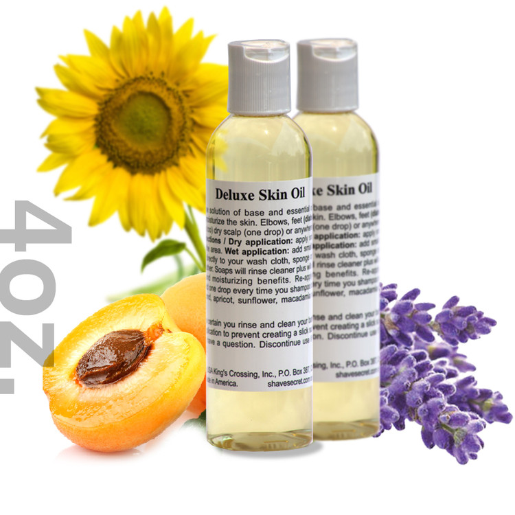 4 oz. Deluxe Skin Oil - 2 PACK Deluxe Skin Oil is a multi-purpose solution of base and essential oils designed to condition and moisturize the skin. Elbows, feet (diabetic or normal), hands (cuticles too) dry scalp (one drop) or anywhere else dry skin is a problem.