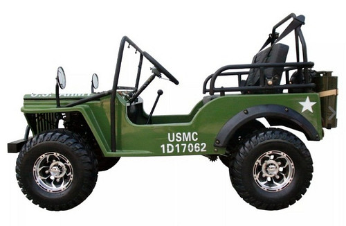 Mini Jeep 6125A Gas Golf Cart 125cc Jeep Mini Truck ELITE Edition with 3-Speed Transmission w/Reverse, Custom Rims And Fender Flares - Fully Assembled and Tested