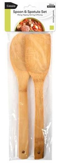CASSIA 2pc Bamboo Spoon & Spatula (KT-629)