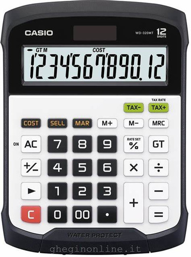 CASIO 12 Digit Splash Proof Desktop Calculator (WD-320MT)