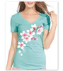 Cherry Blossom Clouds Ladies V-Neck