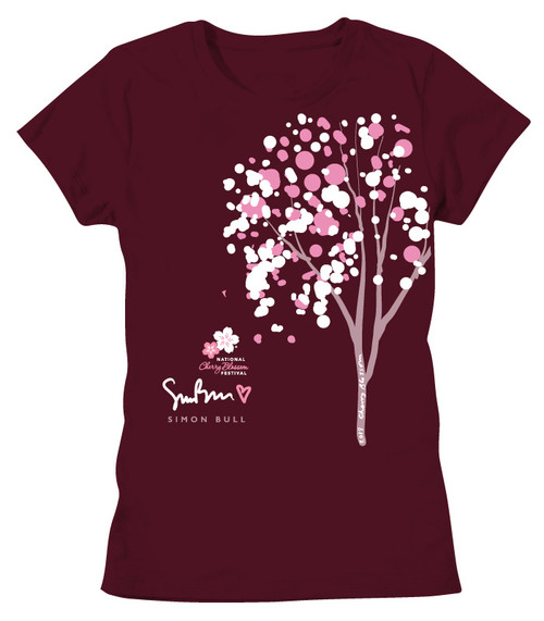 SIMON BULL NCBF CHERRY BUBBLE TREE LADIES BOYFRIEND TEE MAROON