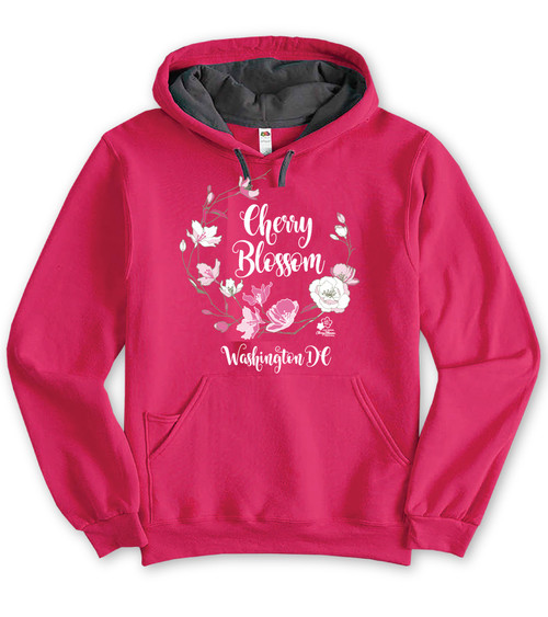 CHERRY BLOSSOM WREATH UNISEX CONTRAST HOODIE CYBER PINK