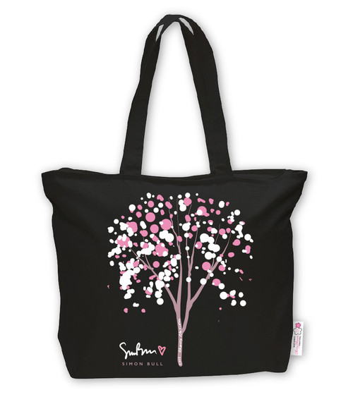 SIMON BULL CHERRY BUBBLE TREE BLACK TOTE BACK