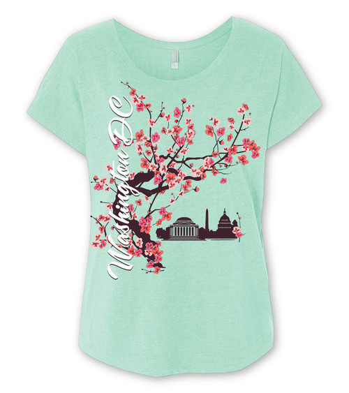 Cherry Blossom Tea Ladies Dolman Mint