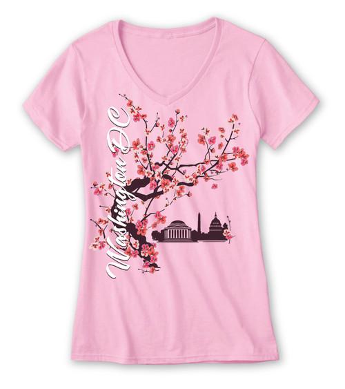 Cherry Blossom Tea V-Neck Tee