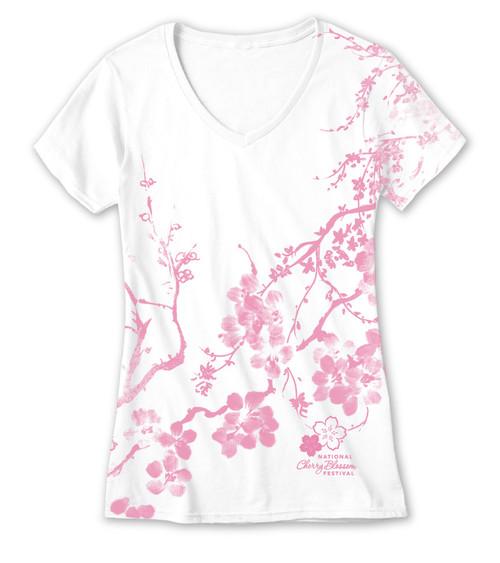 Cherry Blossom Kimono All Over Print Ladies V-Neck