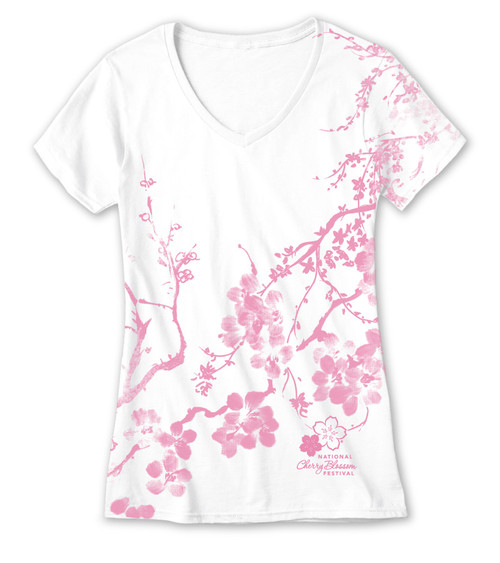 Cherry Blossom Kimono All Over Print Ladies V-Neck