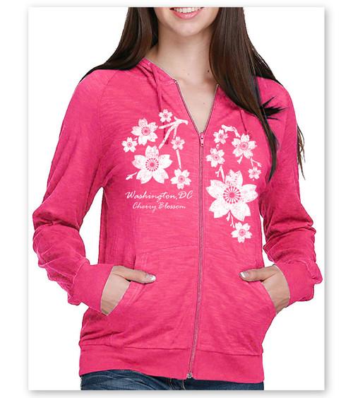 Trickle Cherry Blossom Ladies Slub Full Zip