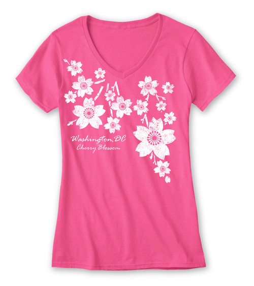 Trickle Cherry Blossom Ladies V-Neck
