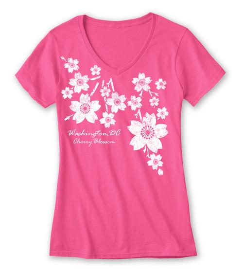 Trickle Cherry Blossom Ladies V-Neck