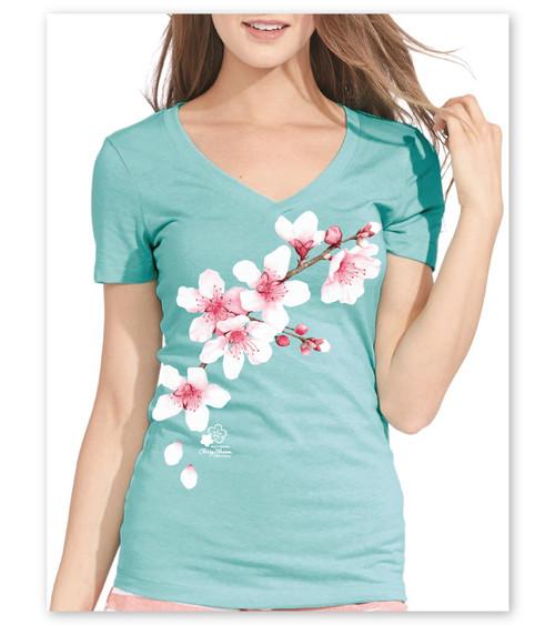 Cherry Blossom Clouds Ladies V-Neck