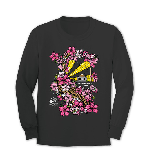 2020 Official National Cherry Blossom Festival Long Sleeve Black Tee