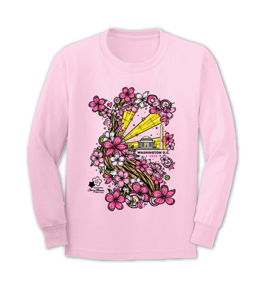 2020 Official National Cherry Blossom Festival Long Sleeve Soft Pink Tee