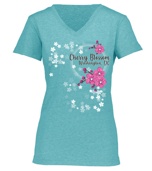 National Cherry Blossom Festival Cherry Buds with Sun Ladies V-Neck Tee