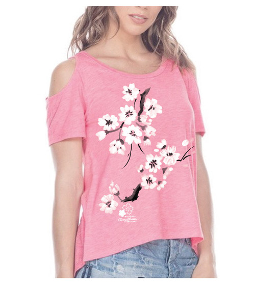 Cotton Candy Blossoms Pink Flash Ladies Tee