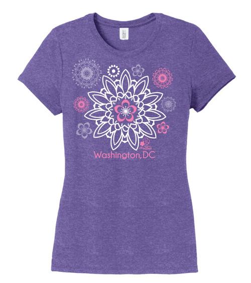 Cherry Blossom Mandala Ladies Tri Blend Purple Frost Tee