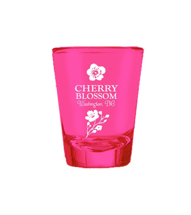 VICTORIAN CHERRY BLOSSOM HOT PINK SHOT GLASS