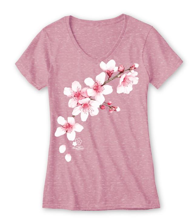 National Cherry Blossom Festival Clouds Melange V-Neck