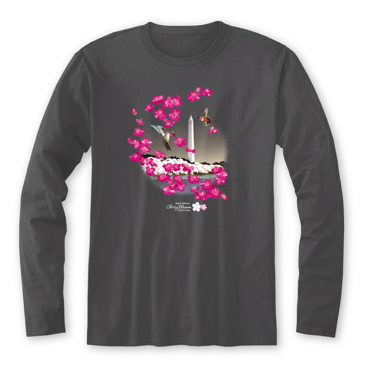 2021 Official National Cherry Blossom Festival Unisex L/S Tee Charcoal