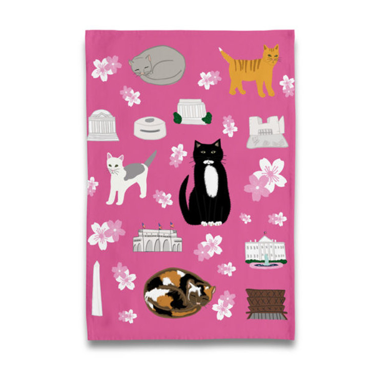 Cherry Blossom Kitties Tea Towel