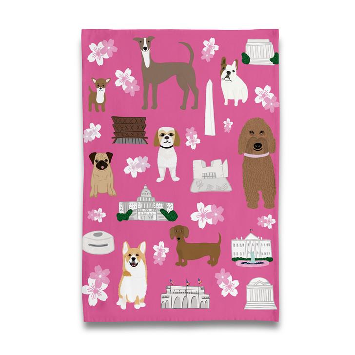 Cherry Blossom Doggies Tea Towel