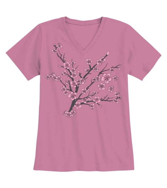 Modern Blossom V-Neck Tee