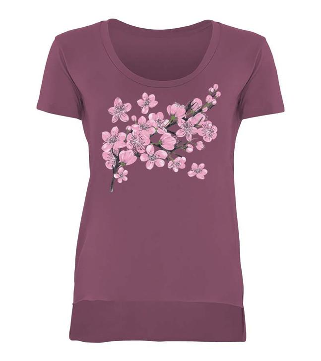 Painted Blossom Ladies Scoop Neck Tee Shiraz