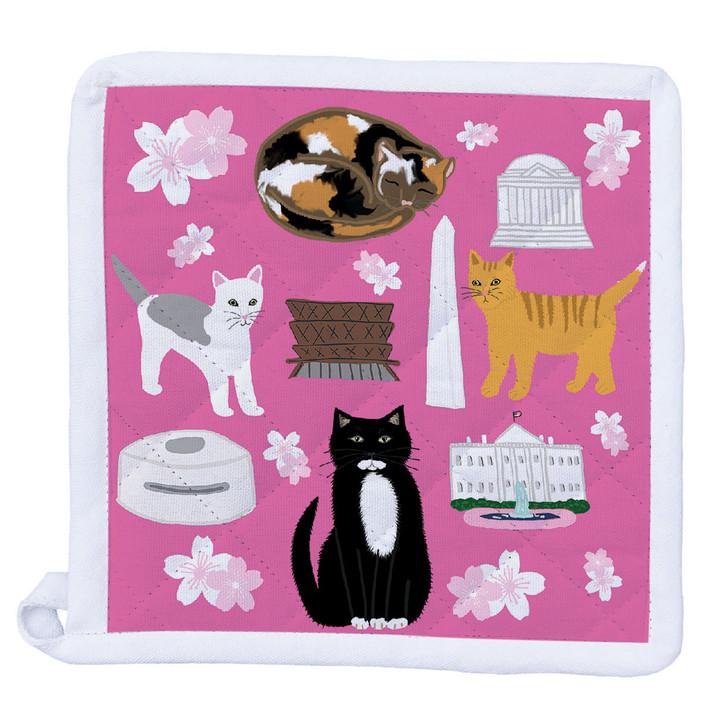 DC Cherry Blossom Kitties Pot Holder
