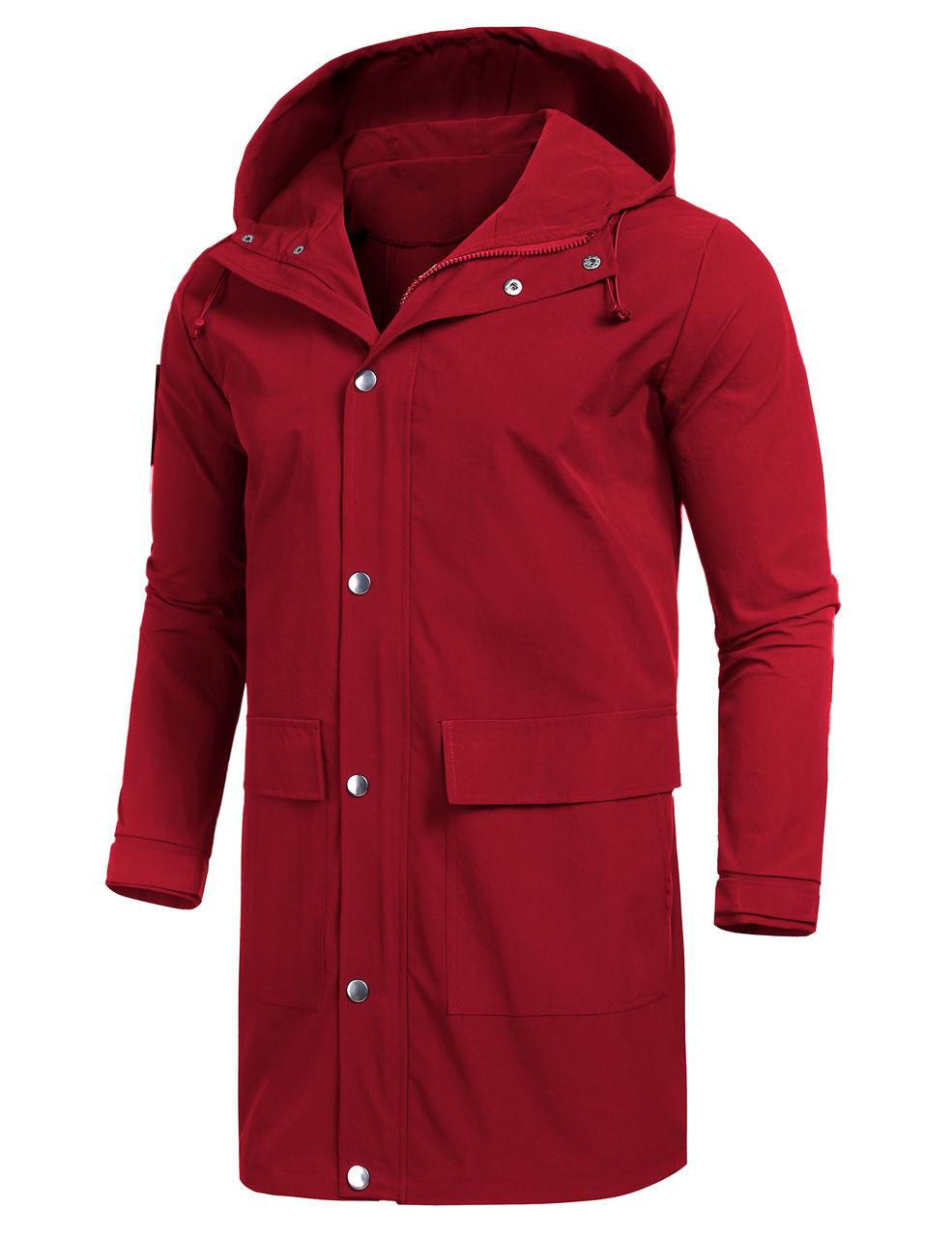 Men/'s Raincoat Lightweight Casual Hooded Rain Coat Long Jacket Coat Waterproof