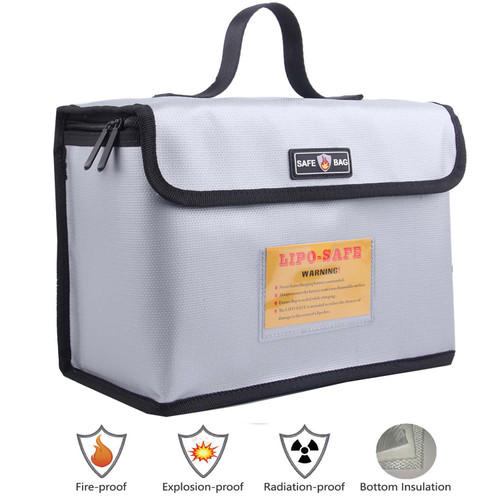AsFrost Fireproof Explosionproof Lipo Safe Bag for Lipo Battery Storage and Charging, Large Space Lipo Battery Safe Bag Storage Guard, Sliver Grey, 10.24 x 7 x 5 in