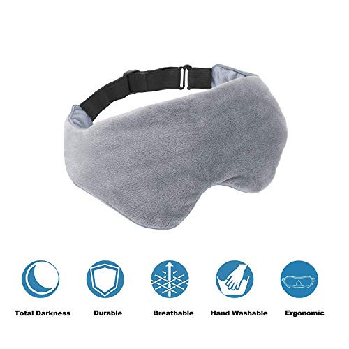 Asfrost Weighted Sleep Mask for Women Men, Weighted Eye Mask for Sleeping with Adjustable Strap, Eye Pillow Weighted with Silica beads and Soft Breathable Cotton, Eye Cover for Sleep Travel Yoga