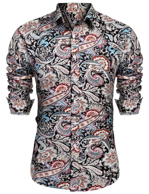 URRU Men's Floral Dress Shirt Long Sleeve Casual Paisley Printed Button Down Shirt