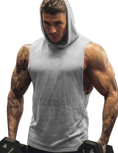 URRU Men's Hooded Tank Tops Workout Sleeveless Muscle Shirt With Kanga Pocket S-XXL