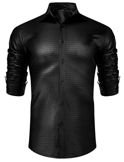 URRU Men's Metallic Shiny Nightclub Elastic Slim Fit Long Sleeve Button Down Sequins Shirt for 70s Disco Party S-XXL