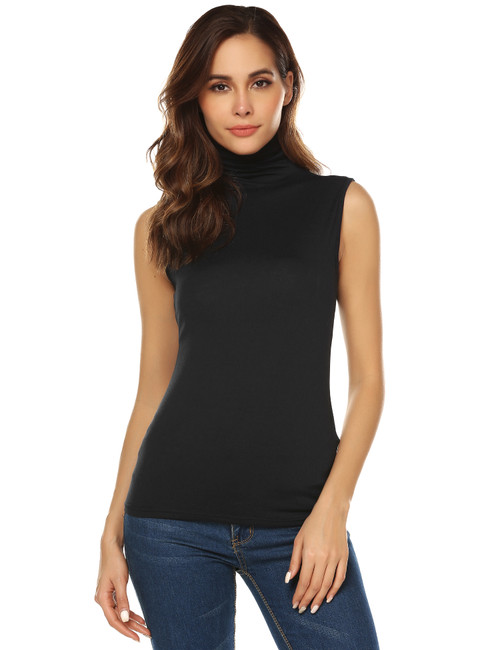 URRU Women's Sleeveless Slim Fit Turtleneck Mock Soft T-shirt Tank Tops Basic Stretchy Pullover S-XXL
