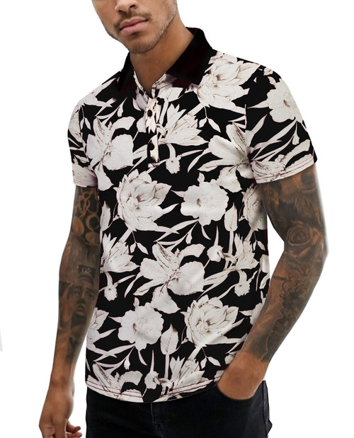 URRU Men's Summer Slim Fit Short Sleeve Polo Shirt Floral Printed Casual Light Weight Polo T Shirt