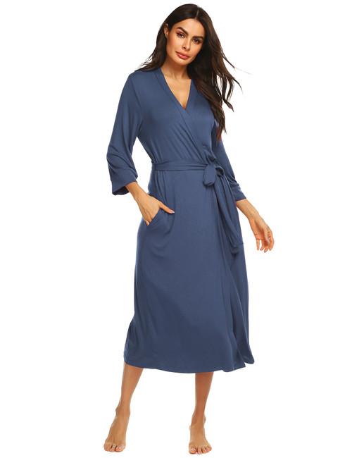 URRU Women's Robes Cotton Knit Kimino Robe Lightweight V-Neck Long Bathrobe Soft Loungewear