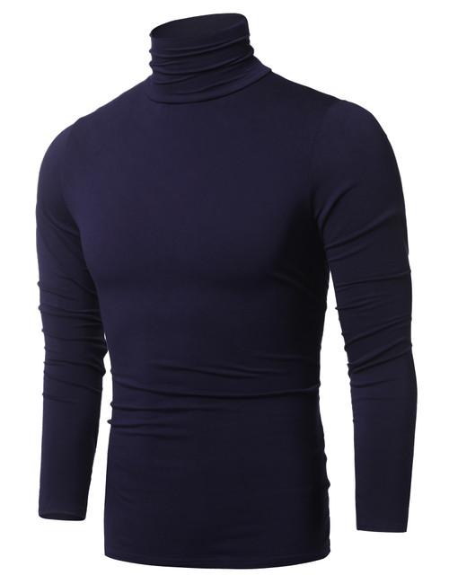 URRU Mens Basic Turtleneck Thermal Long Sleeve T-Shirt Sweatshirt Cozy Pullover Tops